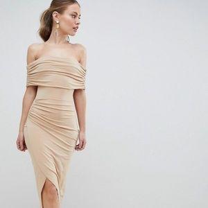 NEW ASOS Design Kimmi Slinky Ruched Bardot Midi 12
